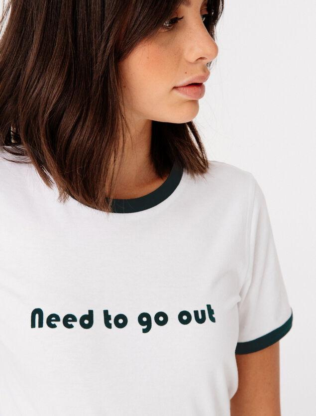 T-shirt  col contrasté message printé