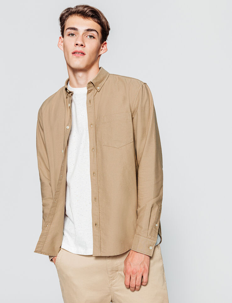 Chemise oxford beige