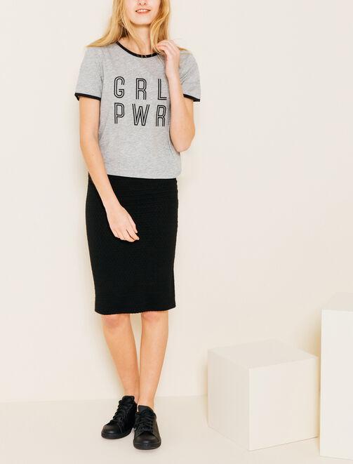 T-shirt manches courtes à message Girl Power femme