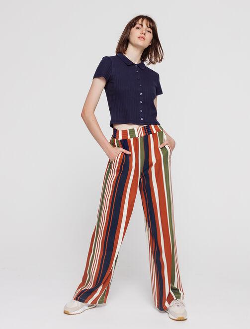 Pantalon large à rayures femme