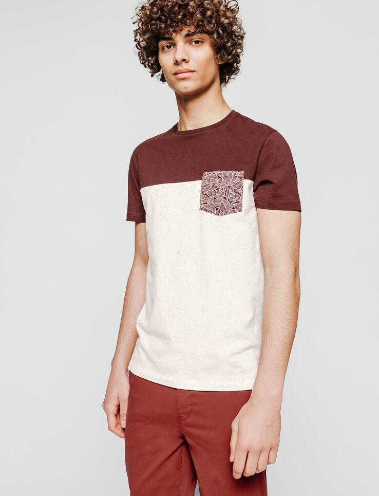 T-shirt colorblock poche imprimée