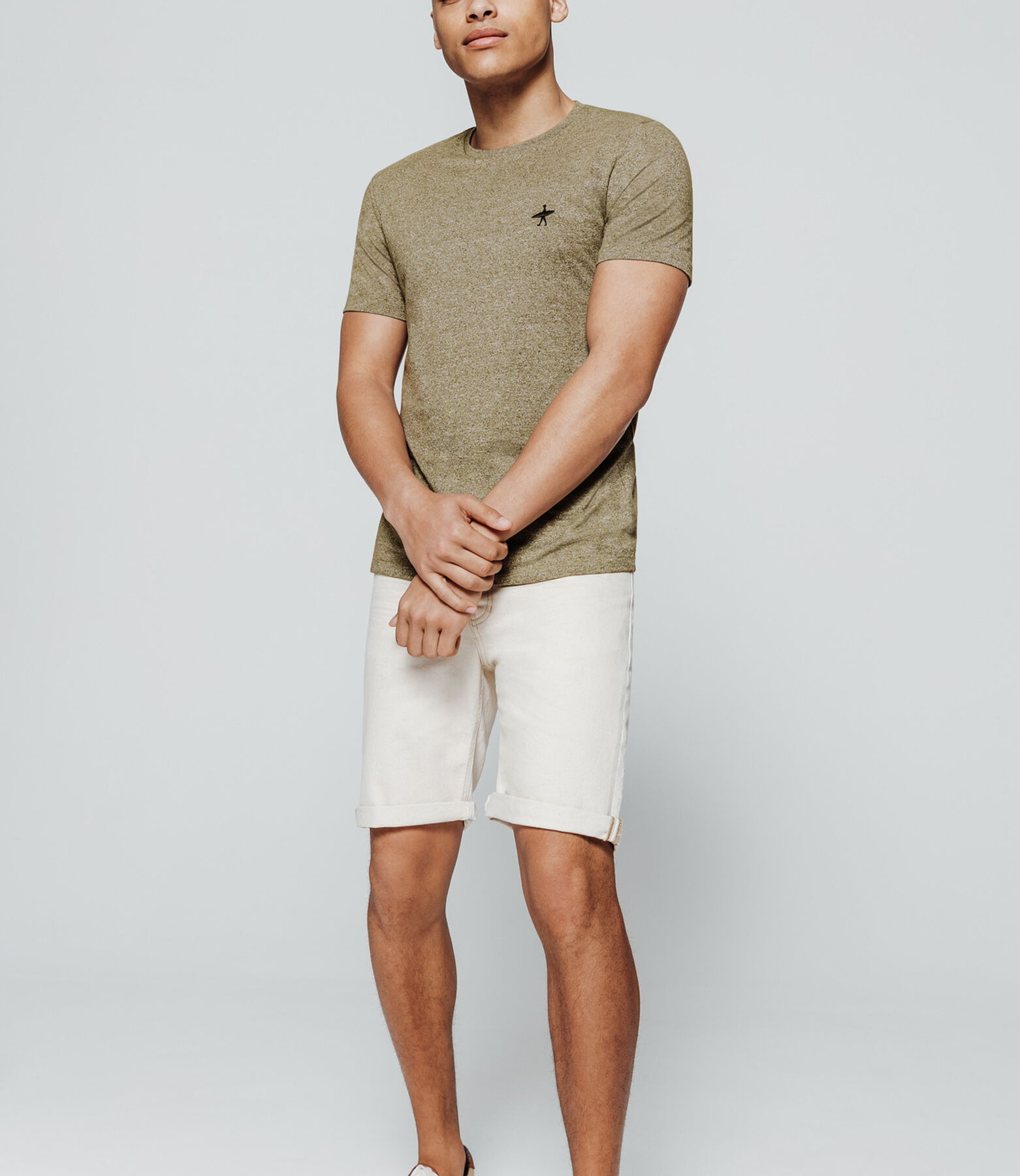 T-shirt mouliné broderie poitrine