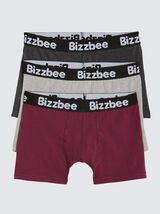 Lot de 3 Boxers Unis Bordeaux Gris