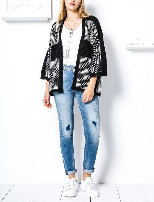 Gilet kimono franges en suédine alpage et laine femme