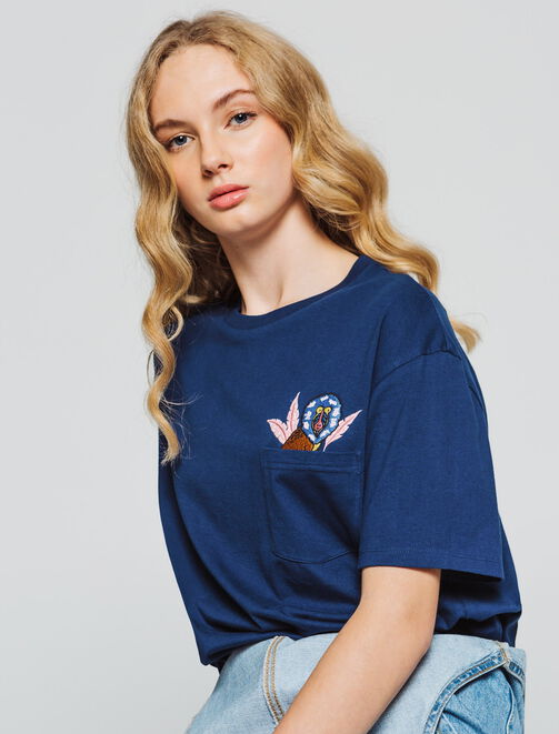 T-shirt animation poche femme