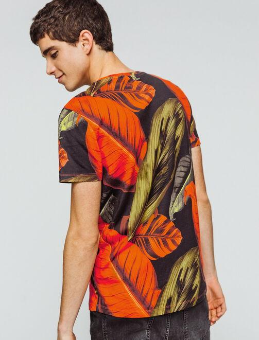 T-shirt imprimé grosse feuille homme