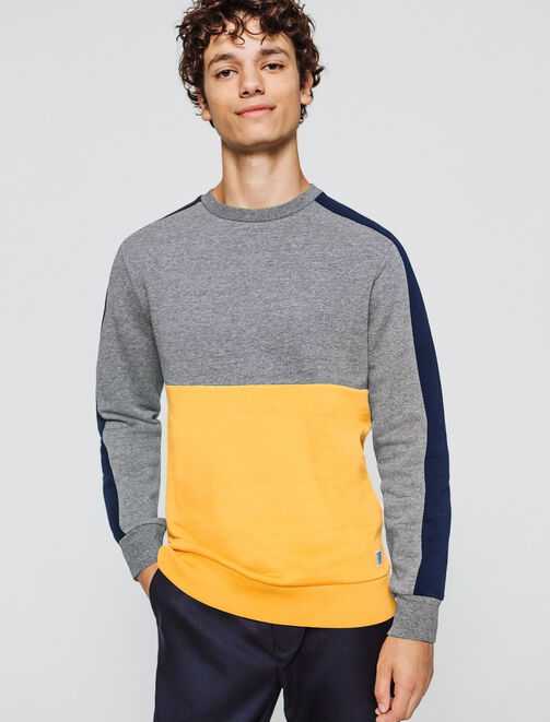 Sweat col rond colorblock homme