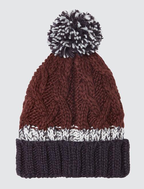 Bonnet tricot à torsades et pompons colorblock homme
