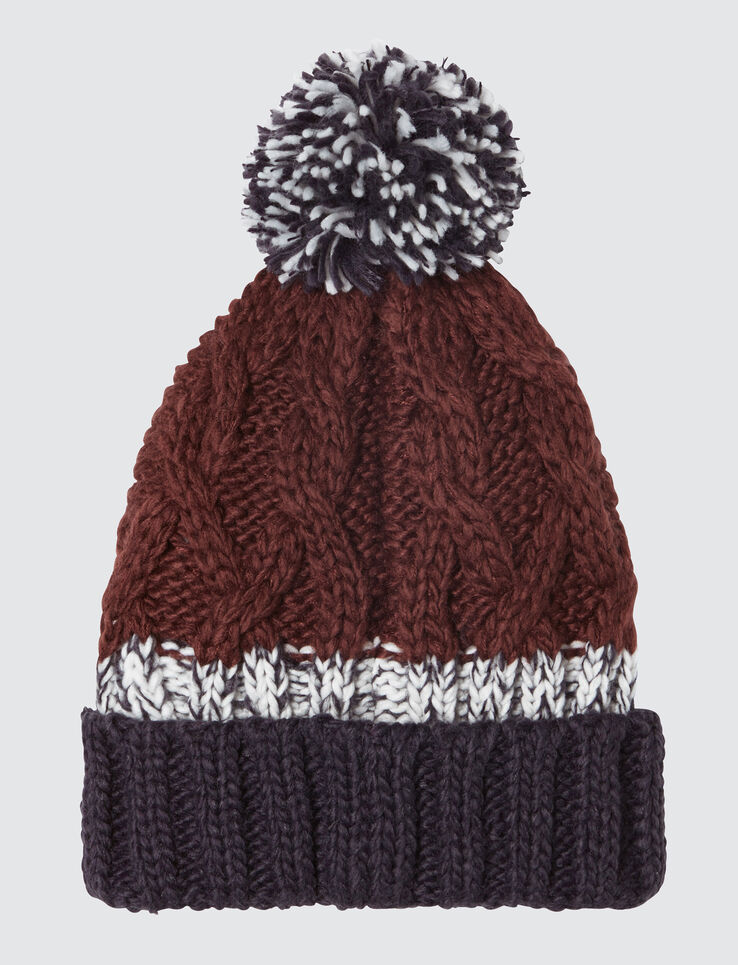 Bonnet tricot à torsades et pompons colorblock