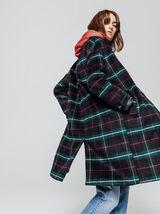 Manteau Mi Long à Carreaux en Laine