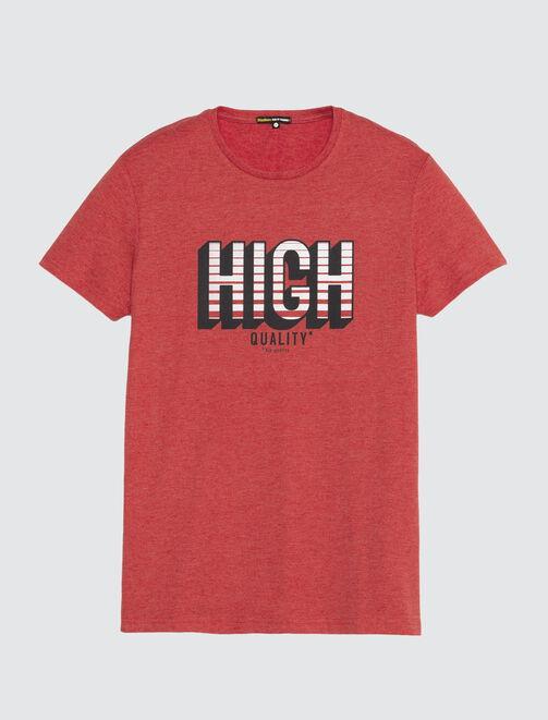 T-shirt manches courtes print placé matière fantai homme