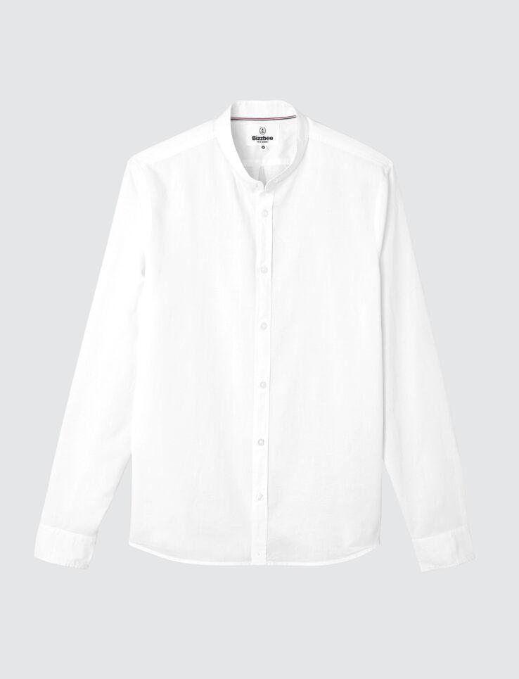 Chemise sans col unie en coton lin