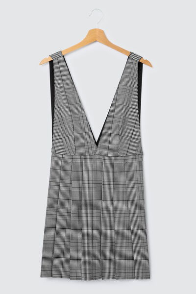 Robe chasuble carreaux jupe plissée polyester recy