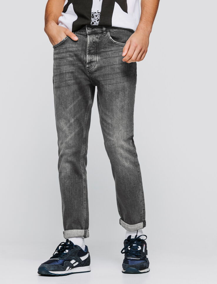 Jean slim noir coupe tapered cropped