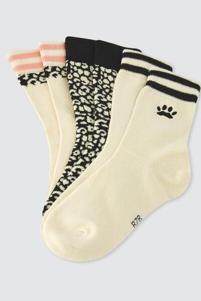 Lot de 3 chaussettes fantaisies animalier