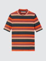 T-shirt en coton bio à cote et rayures