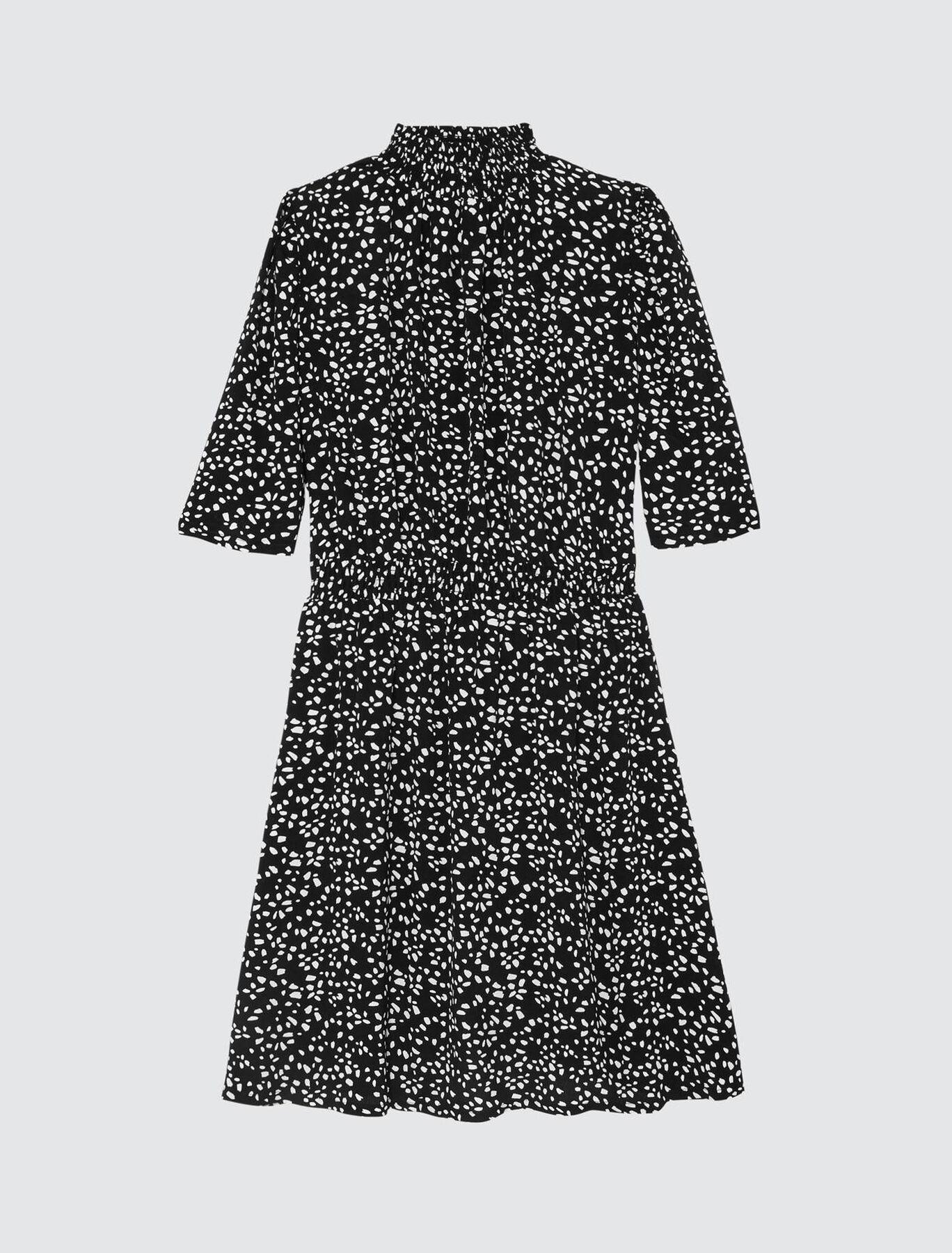 Robe Courte Fluide Col Montant Imprimée Pois
