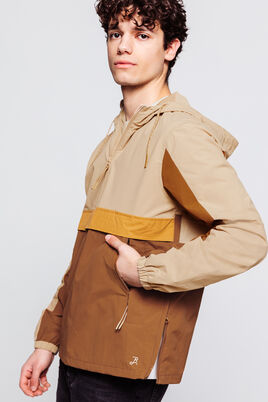 Blouson pop over color block beige-camel-jaune