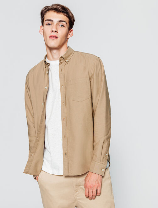 Chemise oxford beige homme