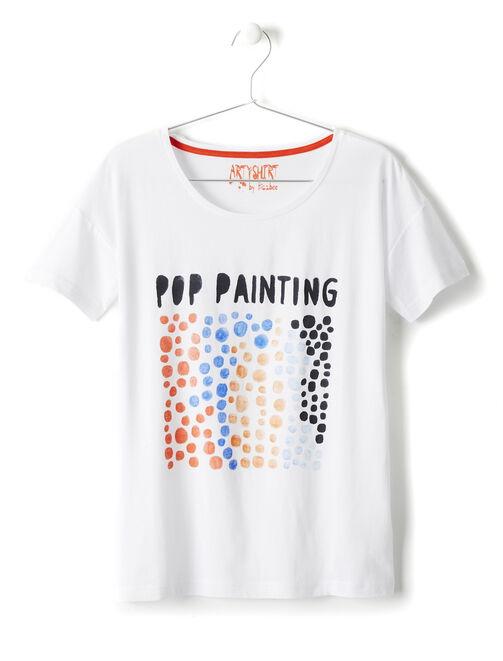 Tee-shirt manches courtes imprimé pop painting femme