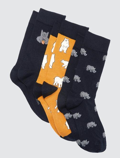 Lots de chaussettes animaux homme