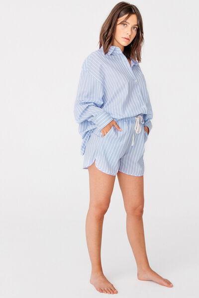 Short pyjama en popeline rayée