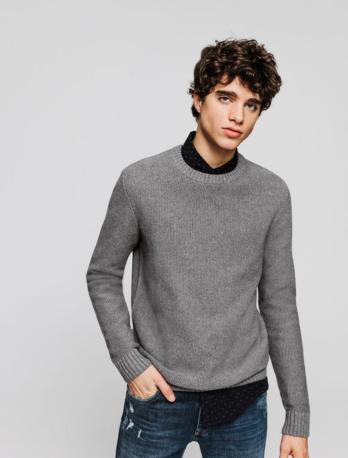 Pull uni col rond homme