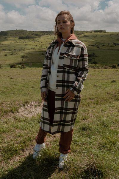 Manteau lainage carreaux