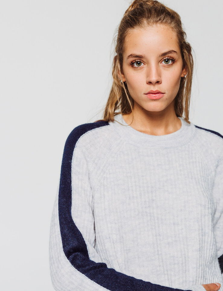 Pull maille fine douce rayure manche