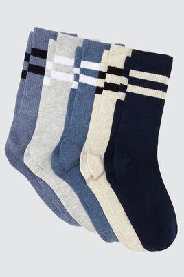Lot *5 Chaussettes Hautes Rayures Sport