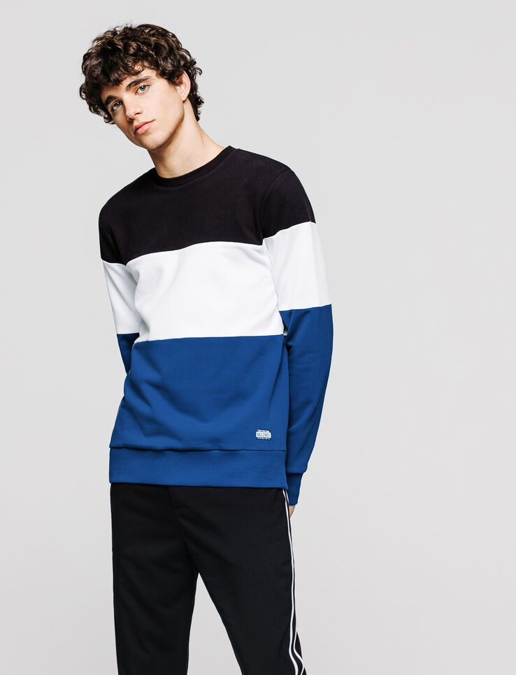 Sweat col rond bandes