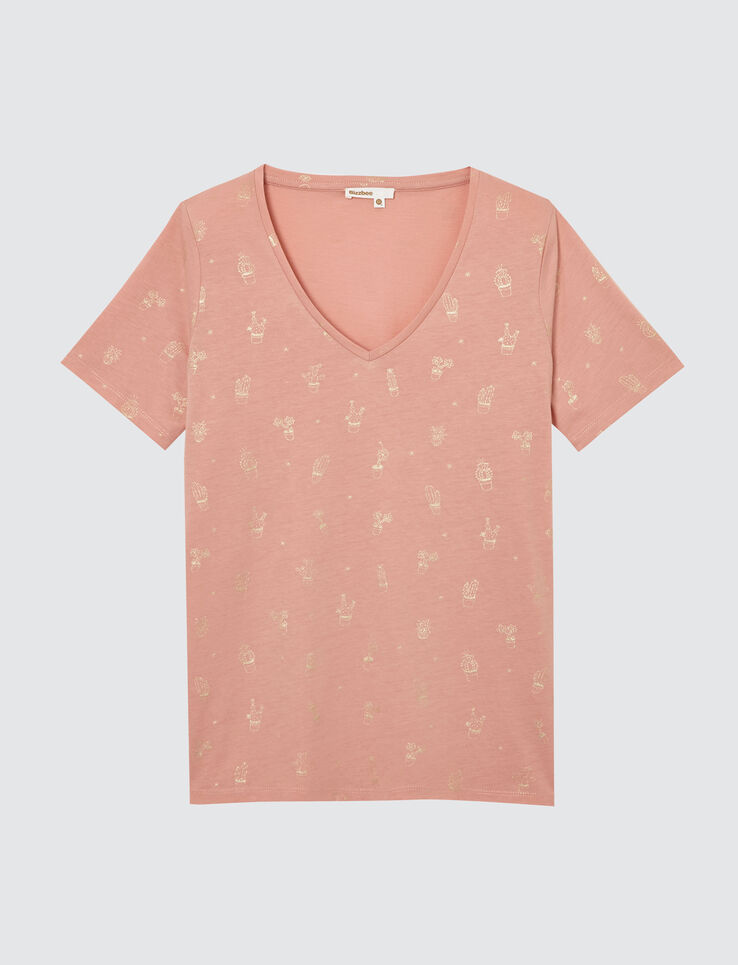T-shirt col V imprimé