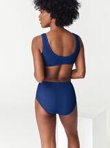 Bas de maillot de bain culotte taille haute gaufré