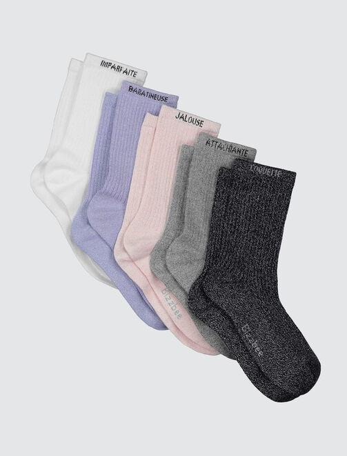 Lot de 5 chaussettes à paillette femme