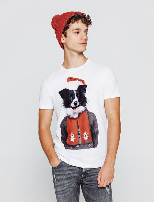 T-shirt photoprint chien noel homme