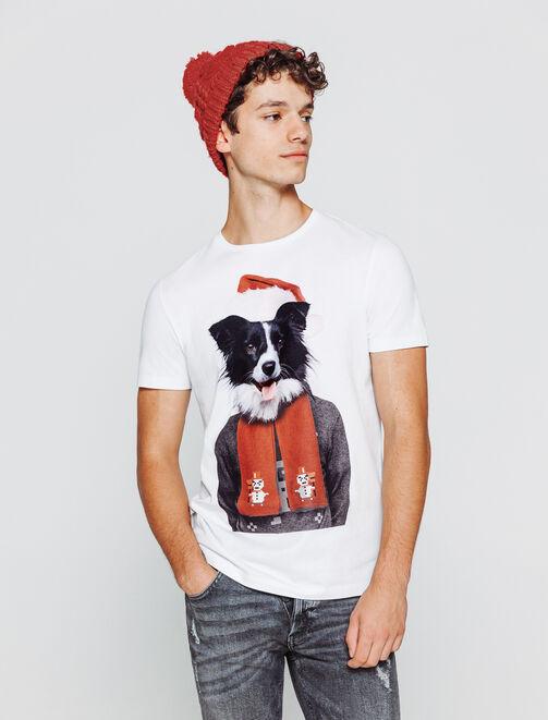 T-shirt photoprint chien noel homme