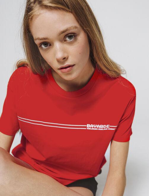 """T-shirt à message """" bavarde, toujours quelque chos femme"""