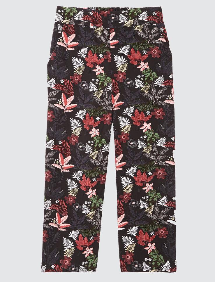 Pantalon court large imprimé élastiqué
