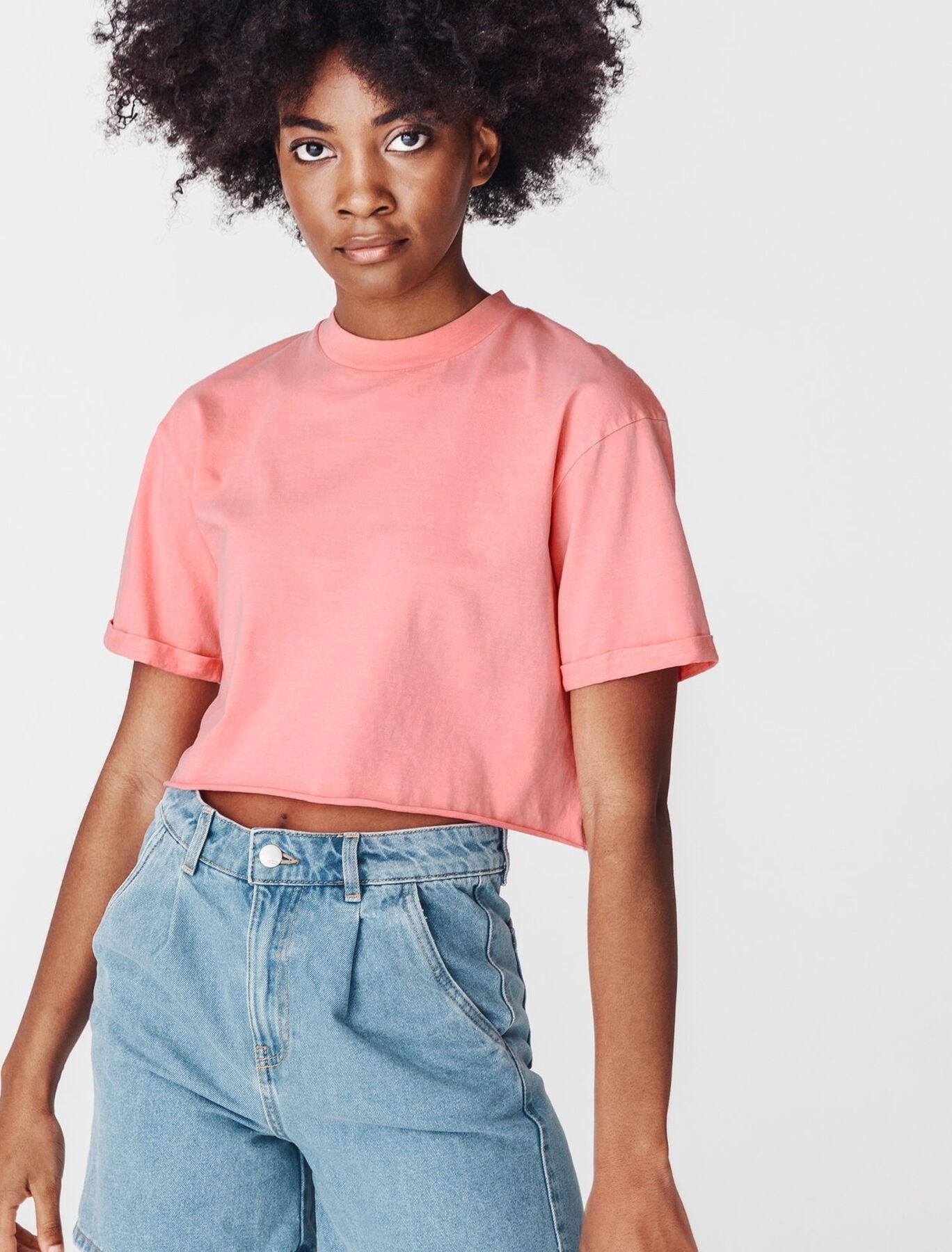 T-shirt cropped délavé