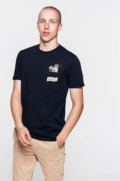 T-shirt avec poche print humour en coton bio