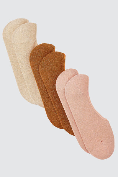 Lot de 3 Chaussettes Invisibles Lurex