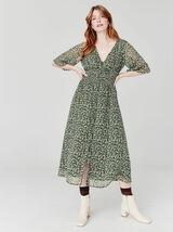 Robe longue imprimée en voile en polyester recyclé
