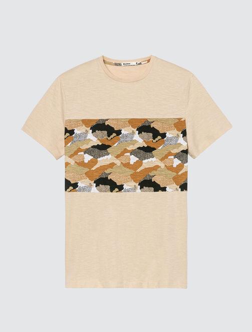 T-shirt imprimé bande camouflage homme