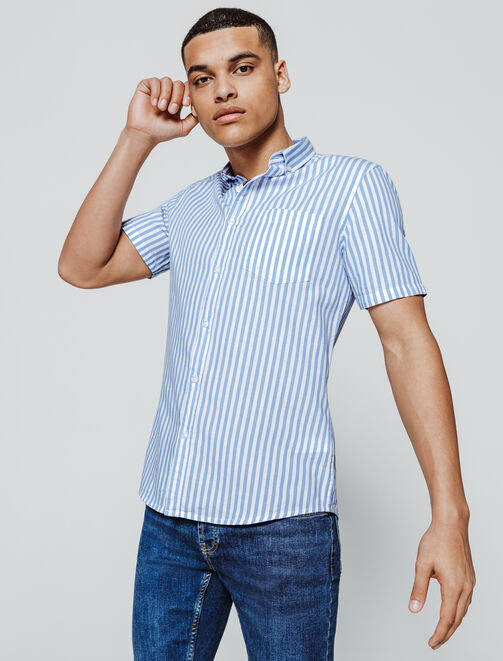 Chemise manches courtes rayée homme