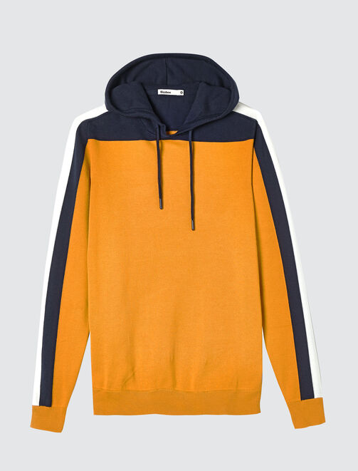 Pull capuche colorblock homme