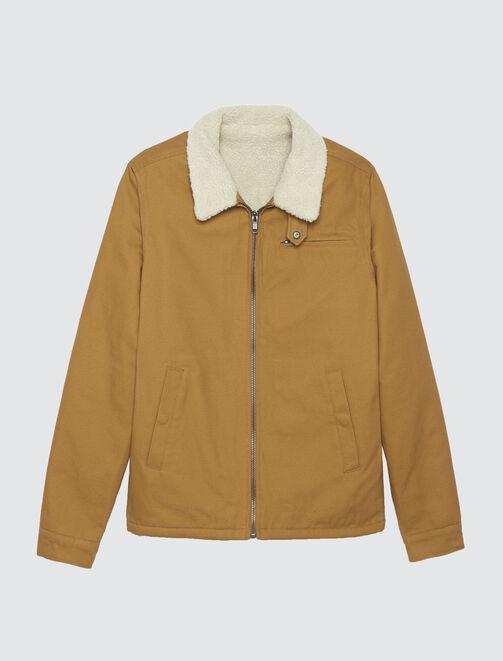 Pilot jacket en canvas camel homme