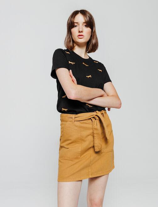 T-shirt brodé renard femme