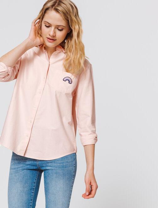 Chemise oxford rose femme