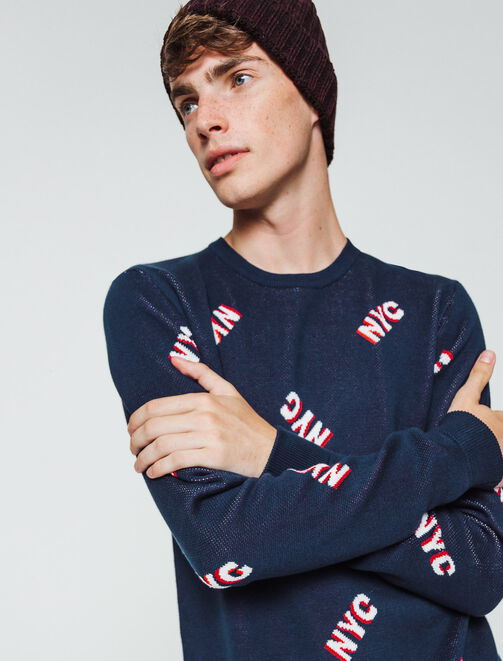 "Pull jacquard  ""NYC"" homme"