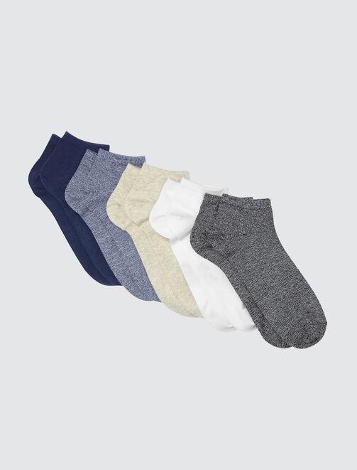 Lot de 5 Socquettes Coloris Fantaisies homme